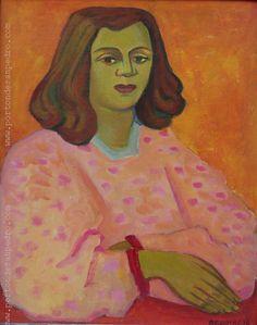 """Norberto Berdía """"La blusa rosada"""" Óleo sobre tela 50 X 40 cms. Año 1976  http://www.portondesanpedro.com/ver-producto.php?id=9223"""