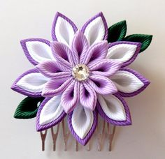 A flower is made in the technique of tsumami kanzashi. Flower is made from grosgrain ribbons. Flowers d is ~ 2 inches ( cm) At your request can be made Ribbon Hair Clips, Ribbon Art, Flower Hair Clips, Ribbon Crafts, Flowers In Hair, Fabric Flower Headbands, Fabric Flower Brooch, Paper Flowers Diy, Fabric Flowers