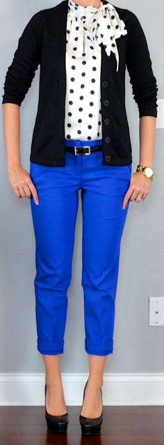 Outfit Posts: black cardigan, polka-dot tie-neck blouse, blue cropped pants, outfitposts.blogspot.com