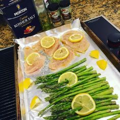 FAST, easy, healthy, cheap meal? Toss asparagus on one side of a foil-lined baking sheet, chicken cutlets on the other. Olive oil and salt on everything. Lemon pepper seasoning on the chicken and garlic on the asparagus. Top with sliced lemons and squeeze lemon juice over top of it all. Bake at 400 for 25 min! #weightlossusa