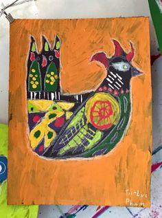 Sanna Annukka Folk Art Birds. Two amazing children's art projects inspired by artist Sanna Annukka! A block printing project + an acrylic painting project!