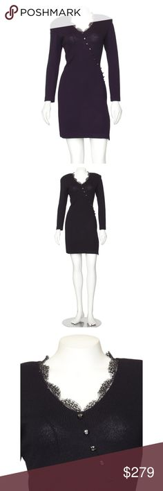 """St. John Evening Black Dress with Lace Trim An elegant St. John black Santana knit cocktail dress, accented with sparkling crystals and lace trim! This beautiful St. John cocktail dress is made out of the lines signature wool blend """"Santana Knit"""" material and features lace and crystal trim at the v'd neckline and side vent, structured shoulders, 3/4 length sleeves, button detail across the front.  ~18"""" Armpit to Armpit, ~30-32"""" Waist, ~36-38"""" Hips, 27.5"""" Length from Armpit, 34.5"""" Length from…"""