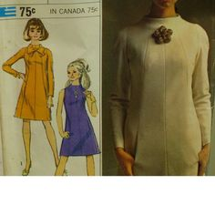 "1960s A-Line Dress Pattern, Panelled, Raglan Sleeves, High Neck, Sleeveless, Simplicity Designer Fashion No. 7239 Size 10 (Bust 32"" 82cm)"