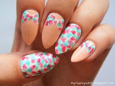 peach, bow, flowers, spring, dots, nails, nail art, manicure http://mycherrynails.blogspot.com/2014/04/kokardy-w-ciapki.html