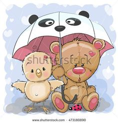 Cute Cartoon Bear and Chicken with umbrella