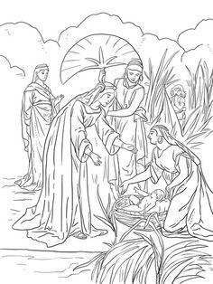 Finding Of Moses Coloring Page From Category Select 27237 Printable Crafts Cartoons Nature Animals Bible And Many More