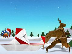 Another Origami Santa On Sled With Reindeers Scene Designer Folder And Photographer Kids