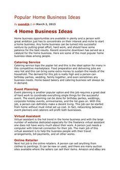 popular-home-business-ideas-17278116 by Sander van Dijk via Slideshare