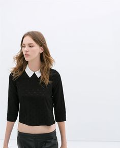 Image 2 of BLOUSE WITH CONTRASTING COLLAR from Zara