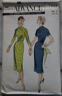 1950s Advance 7906 Vintage Sewing Pattern Sheath dress with Mandarin Collar