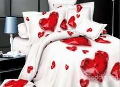 Only costs $50.00! Wonderful Red Heart-shaped 4-Piece Polyester #3D Duvet Cover