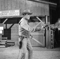 James Arness as Matt Dillon during the GUNSMOKE opening. Image dated...