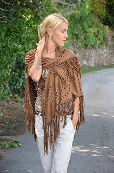 Choies Women's Coffee Suedette Laser Cut Fringed Cape Coat Shawl Wrap Scarf at Amazon Women's Clothing store: