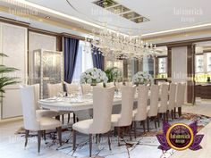 Interior Design of a Luxury Villa in Dubai Jumeirah Golf Estates Villas Interior Design Companies, Apartment Interior Design, Decor Interior Design, Interior Design Living Room, Furniture Design, Room Interior, Luxury Dining Tables, Elegant Dining, Home Decor Bedroom