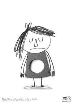 """RECURSO GRATUITO. ACTIVIDAD niños a partir de 4 años: Imprime en DIN A3. Dibuja, pinta, representa lo que crees que hay en el vacío... Libro """"VACÍO"""" de Anna Llenas © Barbara Fiore Editora. Todos los derechos reservados"""