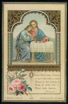Vintage Antique HOLY CARD 1894 Golden LITHO Jesus lady pray chalice rose Bouasse