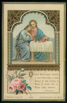 Vintage Antique HOLY CARD 1894 Golden LITHO Jesus lady pray chalice rose Bouasse