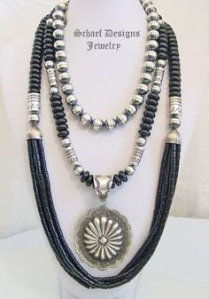 Schaef Designs black onyx and sterling silver tube bead multi strand long necklace, sterling silver 12mm bench bead short necklace with Vince Platero silver Large Concho Pendant | Schaef Designs Southwestern Basics Collection | online upscale Southwestern, Equine, Native American, & Turquoise Jewelry gallery | Schaef Designs artisan handcrafted Jewelry | New Mexico by fanny
