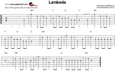Lambada - easy guitar tablature