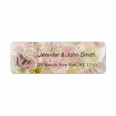 Shop Pink butterflies roses label created by FancyMeWedding. Custom Address Labels, Return Address Labels, Pink Butterfly, Butterflies, Gift Tags, Roses, Gifts, Color, Design
