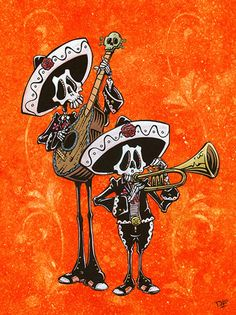 Dos Mariachis by David Lozeau Mexican Skeleton Guitar Canvas Art Print – moodswingsonthenet