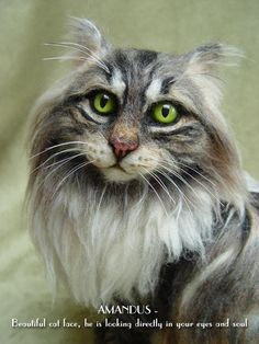 Artist Cat/ Collectible/ Needle Felted/ SAMPLE for customised Norwegian Forest/ Life-Size/ OOAK