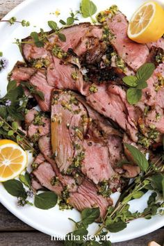 Ask your butcher to prepare the boneless leg of lamb so you don't have to. Pounding the lamb to an even thickness and removing the bone drastically reduces the cooking time, from at least 45 minutes to only 16 minutes. Our pro tip is to marinate the meat overnight for maximum flavor. #marthastewart #recipes #recipeideas #easterfood #easterrecipes #eastertreats #easterideas Best Lamb Recipes, Yummy Pasta Recipes, Lemon Recipes, Healthy Dinner Recipes, Beef Recipes, Cooking Recipes, Cooking Time, Easy Weeknight Meals, Quick Easy Meals