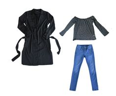 Collectabl Winter Capsule Wardrobe   Duster   Off the shoulder tee   jeans