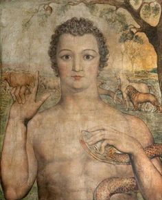 A youthful Adam, who closely resembles portraits of the curly-haired young Blake, names the beasts after the fall. The serpent is entwined, in surprisingly friendly fashion, around Adam's left arm. He stares out, as if deep in thought. The animals, behind him, graze in a pastoral landscape, as if still unscathed by man's transgression in the garden of Eden. Above Adam's head, an acorn indicates winter, but in Blake's mythology the oak is also the druidical tree on which Christ was crucified…