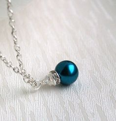 Teal+Bridesmaid+jewelry+Bridesmaid+Necklace+Teal+by+LaurinWedding,+$8.50