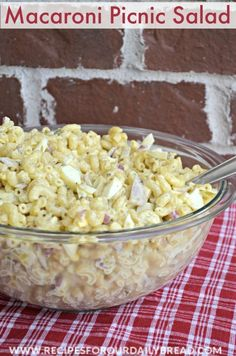 """Macaroni Picnic Salad  - This Macaroni Salad is perfect for a picnic or cookout.  My youngest daughter, Diana, says, """"I love it better than Macaroni & Cheese"""".  It really is good. http://recipesforourdailybread.com/2014/05/23/macaroni-picnic-salad/  #picnic #salad #macaroni"""