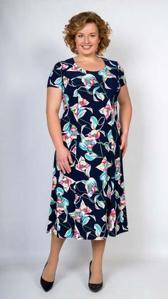 Dresses for obese women of the Belarusian company Trikoteks-style spring 2018 - Office Outfits Dress Outfits, Casual Dresses, Short Dresses, Fashion Dresses, Casual Outfits, Plus Size Dresses, Plus Size Outfits, Xl Mode, Big Size Fashion