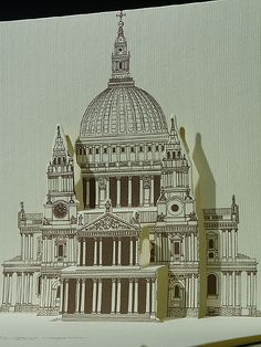 3D Pop-up kirigami postcard with St. Paul's Cathedral, London (UK)