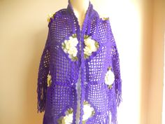 Crochet Wool Shawl Purple Violet Lace Scarf by dreamhouse1