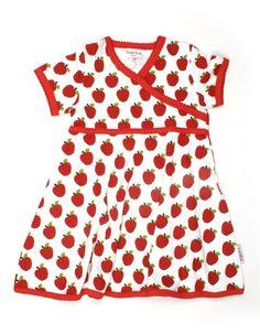 Wit Chinees jurkje met rode appels en rode boordjes - Baba Babywear, 24,50 euro