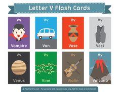 Free Printable Letter V Flash Cards Kindergarten Syllabus, Kindergarten Language Arts, Letter Flashcards, Alphabet Cards, Abc Phonics, Teaching Phonics, Free Printable Flash Cards, Printable Letters, Learning English For Kids