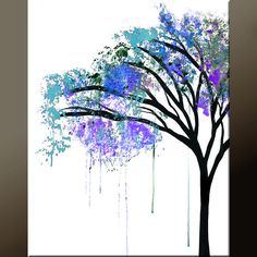 Abstract Landscape Art Print  11x14 Matted Contemporary Wall Art by Destiny Womack -  dWo - The Weeping Tree. $20.00, via Etsy.