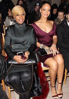 """rihannainfinity: """"February 16: Rihanna and Mary J. Blige at Zac Posen Fashion Show in New York """""""