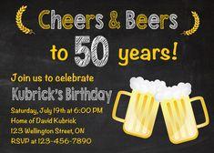 50th birthday invitation. Beer party invitations. Chalkboard. 30th 40th 50th 60th for Men. Big 30. Surprise Birthday. Printable Digital DIY by arthomer on Etsy https://www.etsy.com/listing/190656064/50th-birthday-invitation-beer-party