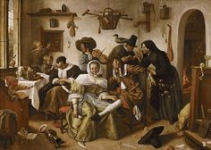 A typical Jan Steen picture (c. 1663); while the housewife sleeps, the household plays
