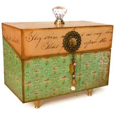 Recipe Card Box Distressed Wooden Storage Box by BlissfulBoxes, $45.00