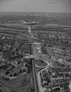 East Capitol Street looking west. RFK Stadium and DC National Guard Armory on opposide of Anacostia River and East Capitol Street Bridge.
