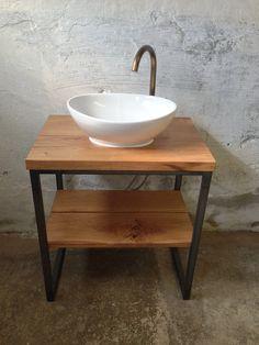 Bathroom Table, Bathroom Renos, Bathroom Furniture, Wood Sink, Wood Bath, Bathroom Design Inspiration, Bathroom Interior Design, Iron Furniture, Barbie Furniture