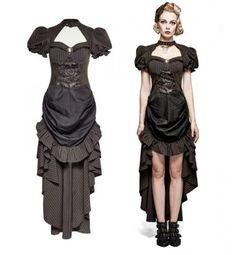 Punk-Rave-Steampunk-Kleid-Victorian-Pin-Up-Dress-Gothic-Vintage-Military-Q315