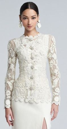 Mother of the Groom Dress. Long Sleeve Evening Wear for Mother of the Bride. This haute couture formal wear piece can be easily recreated for you. Get pricing and more info about long sleeve evening wear for the wedding at – Dress Archive Lace Jacket, Embroidered Lace, Mode Inspiration, White Fashion, Fashion Details, Style Fashion, Couture Fashion, Beautiful Outfits, Gorgeous Dress