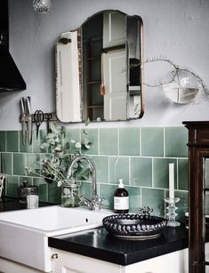 Green tile is trending in interior design. Here are 35 reasons why we can't get enough green tile. For more interior design trends and inspiration, visit domino. Bad Inspiration, Bathroom Inspiration, Interior Inspiration, Bathroom Ideas, Bathroom Green, Modern Bathroom, Bathroom Colors, Mosaic Bathroom, Bathroom Goals