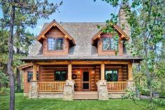 Wonderful 2 story, 2 bedroom, 2 bath log home plan!