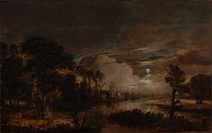 Moonlit Landscape with a View of the New Amstel River and Castle Kostverloren/Aert van der Neer, Dutch, 1647