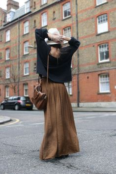 loose sweater + maxi.