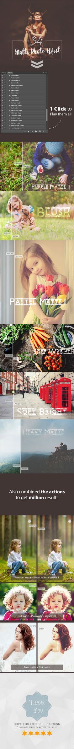 34 Matte Photo Effect Premium Collection - Photo Effects Actions